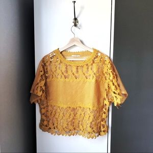 Zara lace mesh mustard yellow crop top blouse